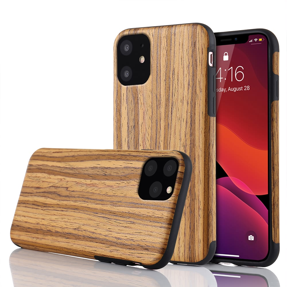 Slim Wood Grain Silicon Glitter Bumper Cover Wooden Case for iPhone 12 Pro Max 2