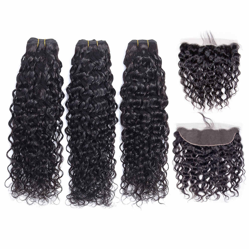 Chic Crown Human Hair Bundles With Frontal Brazilian Water Wave Bundles With Closure Frontal With Bundles Brazilian Hair Weave