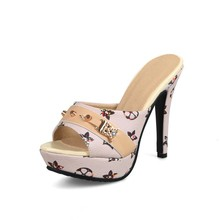 Women 12cm Ultra High Heel Platform Pumps Open Peep Toe Stiletto Thin High Heels Shoes Print Sandals for Party Casual Work цена