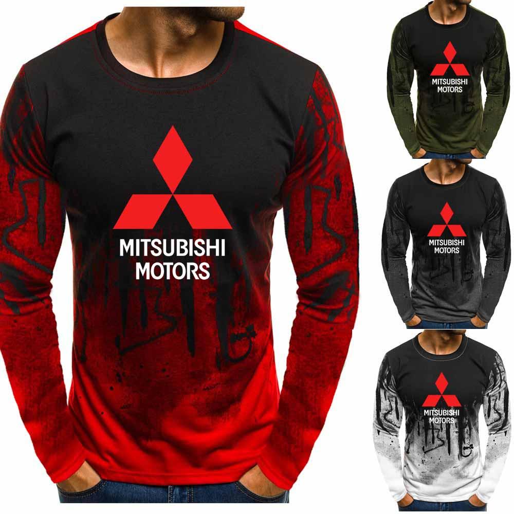 Gradient O Neck Pullover Sweatshirts Mitsubishi Motors Car Logo Printed Casual Cotton Men Hoodies Hip Hop Harajuku Men Clothing