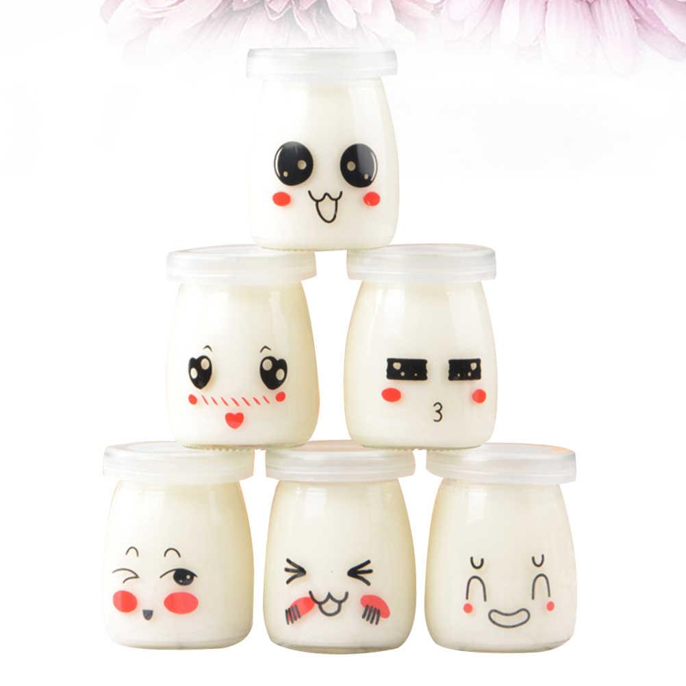 สุ่ม 6Pcs 100Mlพุดดิ้งขวดJam Jarน่ารักแก้วทนความร้อนถ้วยนมสำหรับHomeร้านขนมหวาน
