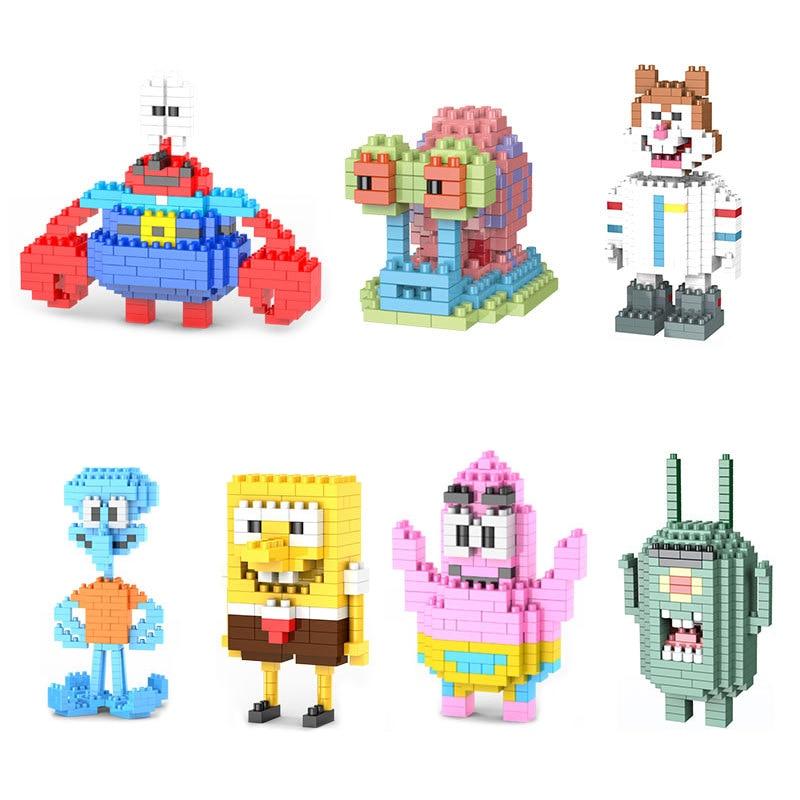Model Building Blocks SpongeBob SquarePants Cartoon Character Building Blocks Mini Brick Educational Toys For Kids Gifts
