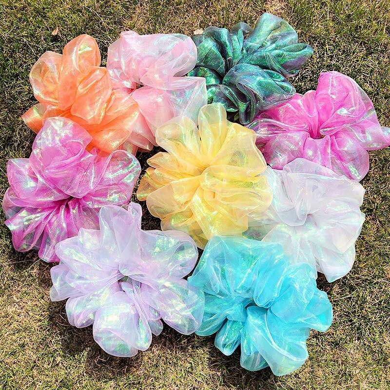 Coletero grande para niña y mujer, banda de goma colorida de 18cm, adorno para el pelo, accesorios para el cabello 2020
