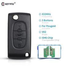 KEYYOU-llave plegable para coche, mando a distancia completo de 3 botones para Peugeot 307 407 308 607 433MHz, Chip electrónico ID46 VA2 Blade CE0536