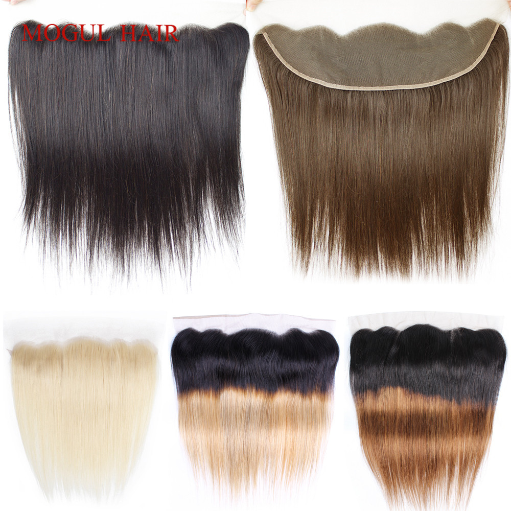 Mogul Hair 13x4 Ear To Ear Lace Frontal 360 Frontal Indian Straight Remy Human Hair Natural Color Dark Brown Ombre Honey Blonde
