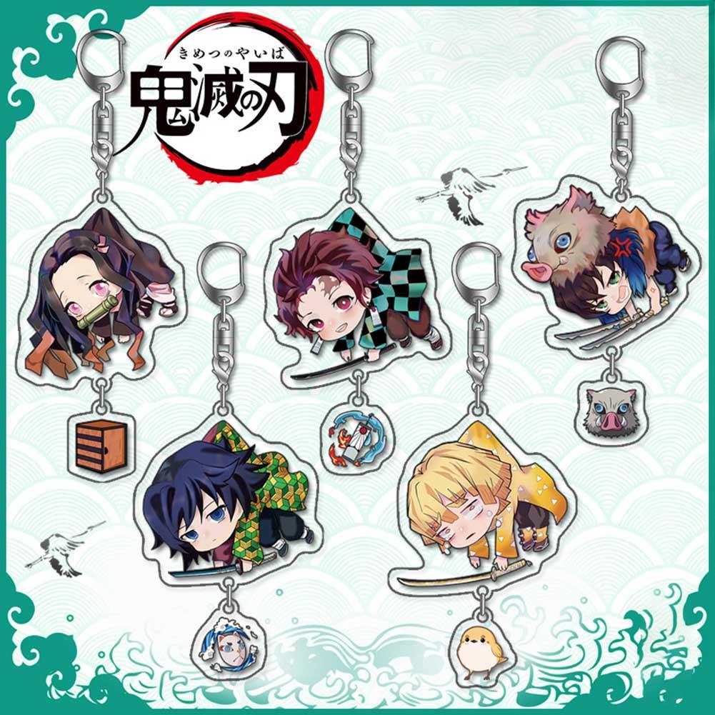 Cute Demon Slayer: Kimetsu No Yaiba Acrylic Keychain Manga Figure Keyring Cosplay Anime
