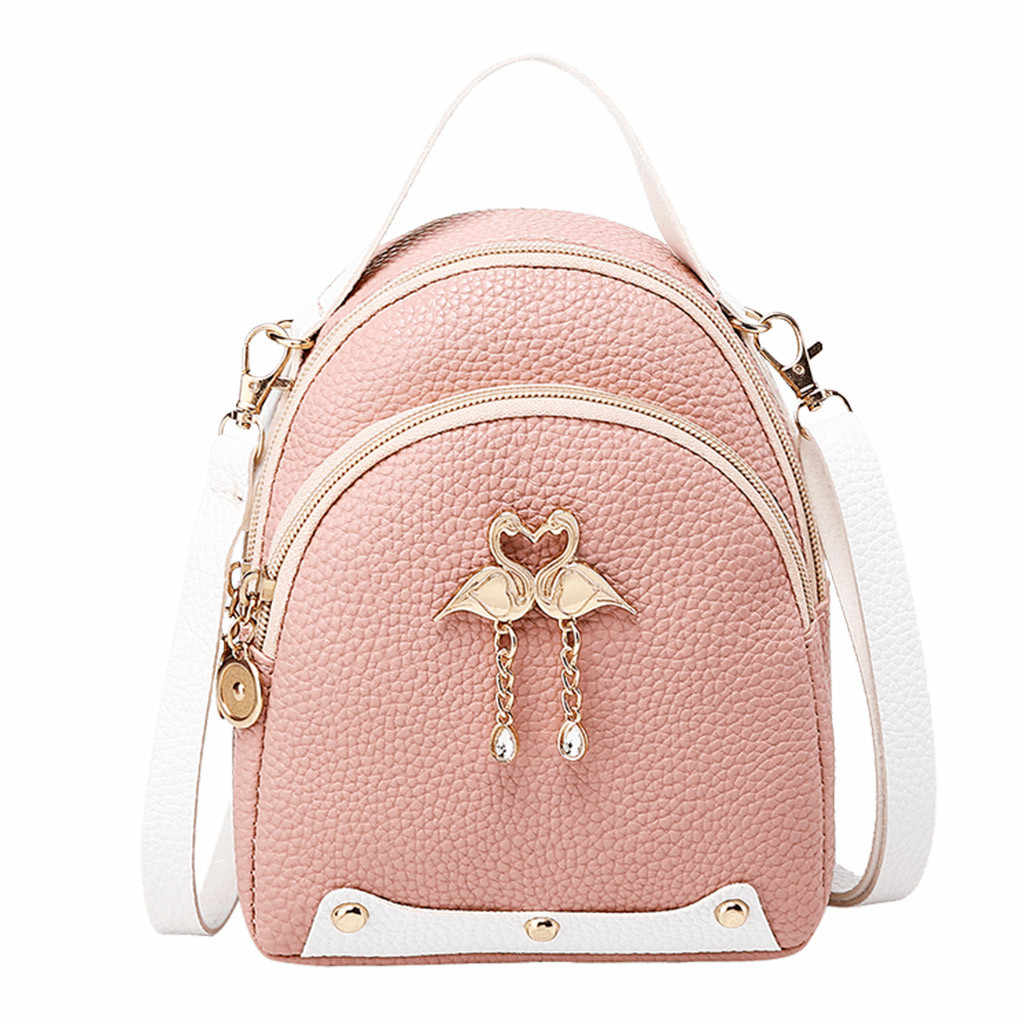 25#Fashion Women's  Solid Color Leather Little Swan Backpack Shoulder Bag Mini Backpacks For Girls Small Backpack Women