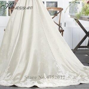 Image 5 - Vestidos De Novia 2019 New Simple Design Lace Appliques A Line Wedding Dress Elegant Sleeveless Court Train Bridal Gown
