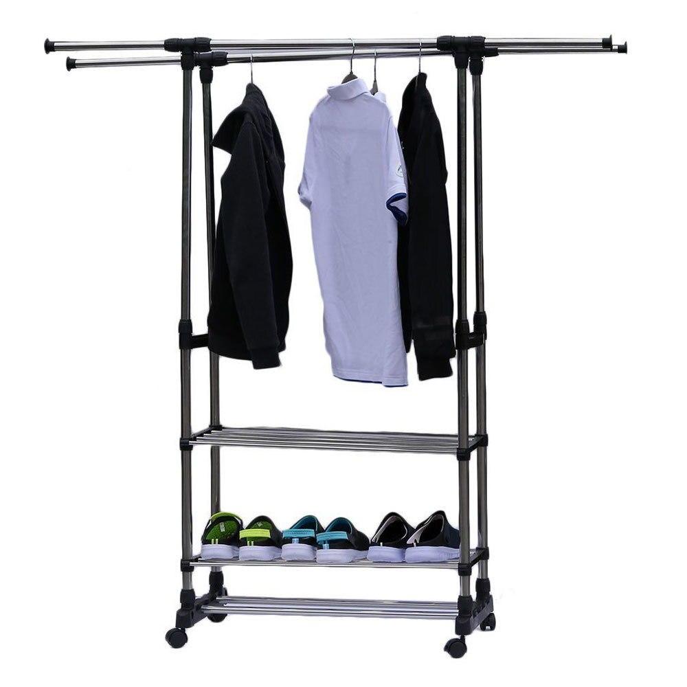Portable Dual Bars Adjustable Double Pole Clothes Coat Garment Dryer Rack Rail Hanging Hanger Shoe Storage Shelf Home Storage