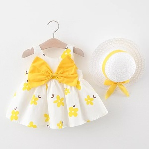 Vestido de algodão para bebês, vestido de algodão com laço para bebês, roupas de 2 peças, roupas infantis para praia, vestido para meninas vestido de vestido