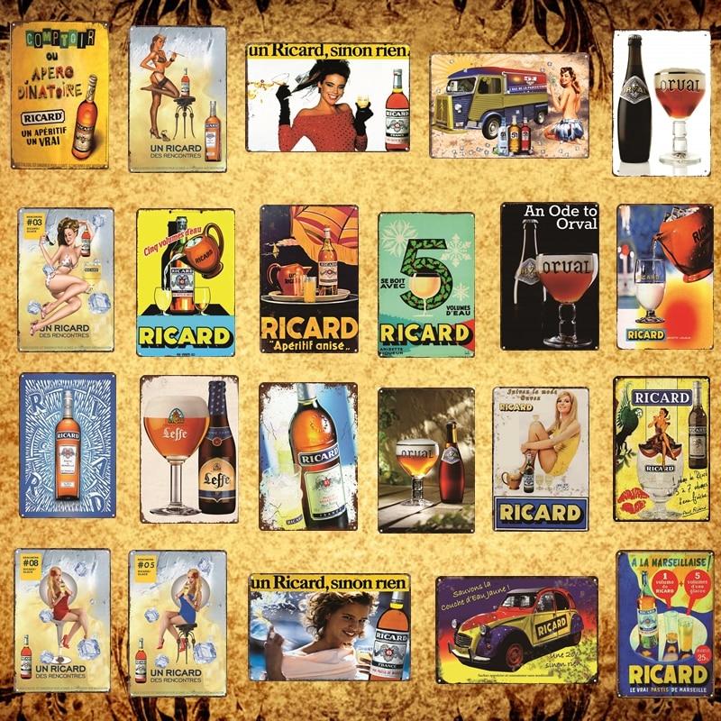 Винтажный пивной плакат Pinup, металлические жестяные Плакаты для бара, паба, дома, виски, ретро винный оригинальный рикардовый плакат AL039