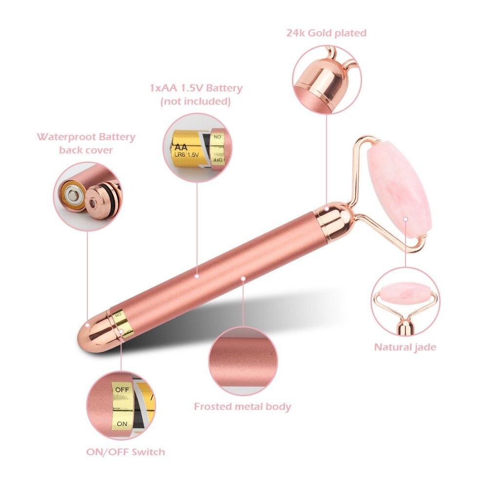 Электрический вибрирующий натуральный розовый кварц нефритовый ролик для подтяжки лица настоящий Настоящий камень зеленый нефрит ролик для лица инструмент для массажа красоты