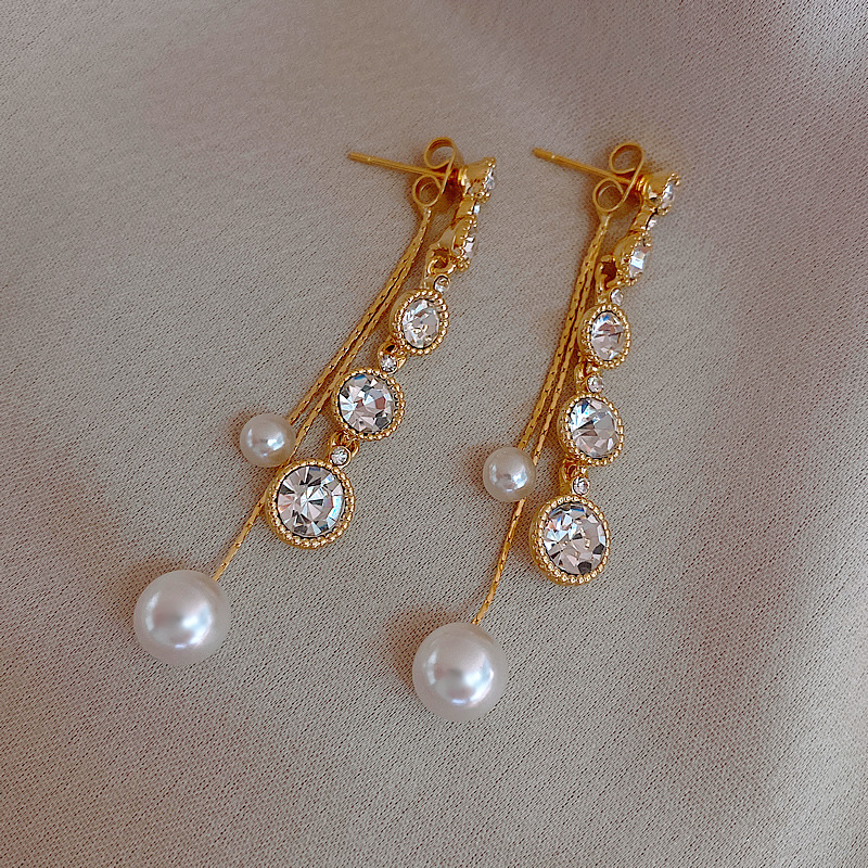 2020 New Arrival Trendy Crystal Round Long Tassel Dangle Earrings For Women Fashion Geometric Simulated Pearl Jewelry Gifts