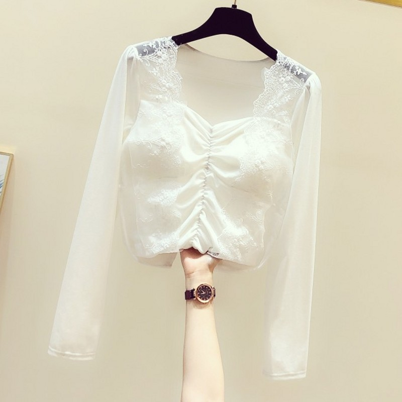 Square Collar Lace Stitching Gold Velvet Slim-Fit Shirt Women's 2020 Spring New Korean-Style Temperament Blouse Top Ladies Tops