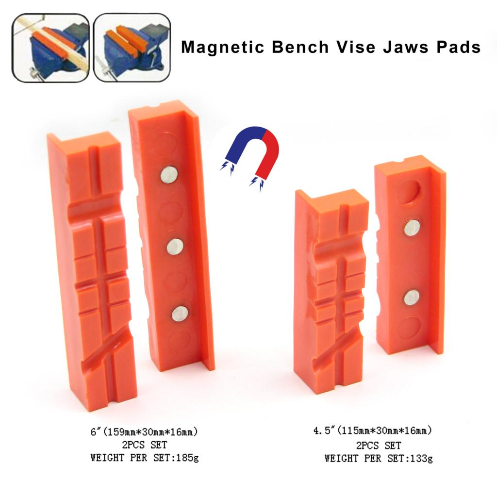 2 Pcs Multi-groove Magnetic Bench Vice Jaw Pads  Mill Cutter Vise Holder Grips For Milling Cutter Drilling Machine Rubber