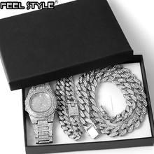 Ожерелье + часы браслет в стиле хип хоп miami Снаряженная кубинская