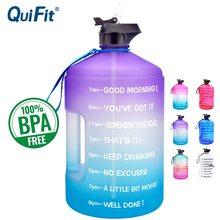Quifit 3.78l 2.2l 1.3l galão garrafa de água com palha plástico grande capacidade ginásio fitness turismo bpa livre esporte jarros ao ar livre copo