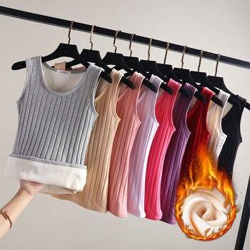 Thermal Shirt Women Sleeveless Elastic Velvet Vest Women Thermal Top Sling Warm Underwear Women Soft thermo shirt women Sexy 2XL 1