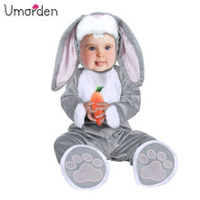 цены Umorden Easter Halloween Costumes Toddler Infant Baby Bunny Rabbit Costume Cosplay for Baby Girl Boy Fancy Dress Jumpsuit