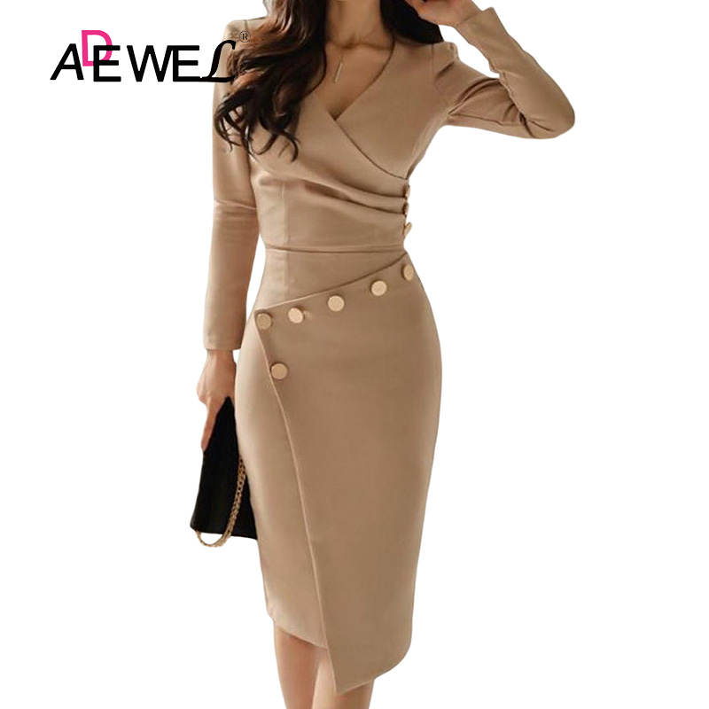 ADEWEL Button Detail White Ruched Bodycon Office Work Dress Women Long Sleeve V-Neck Party Midi Gown Dress 17
