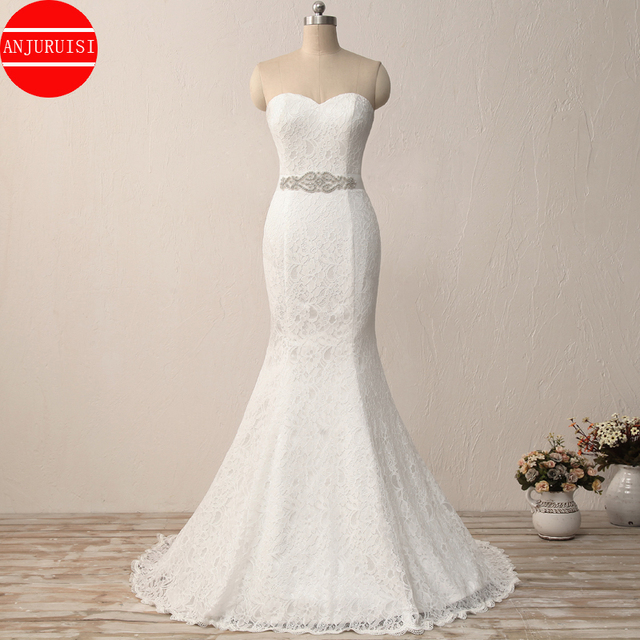 Elegant White Lace Mermaid Wedding Dress 2020 Vintage Cheap Robe De Mariee With Sash Longue Simple Trouwjurk Sukienka Na Wesele 1