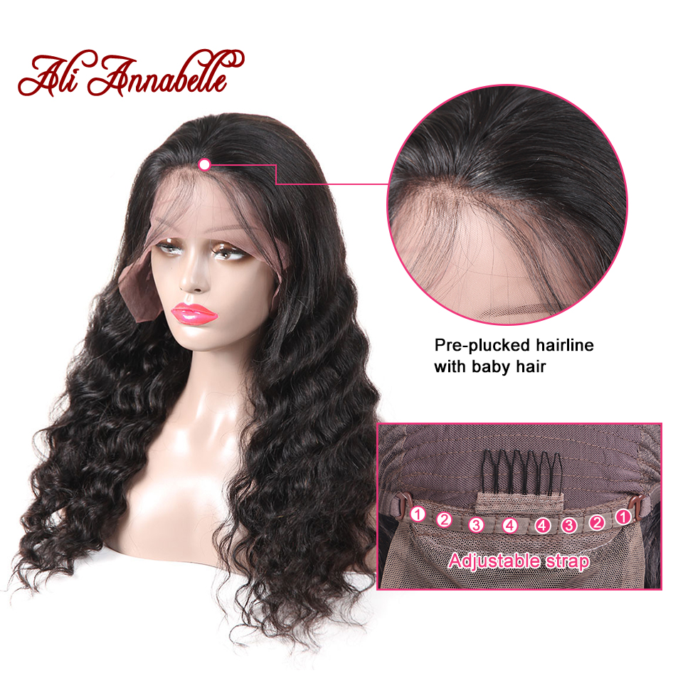 Ali Annabelle Hair Lace Front Human Hair Wigs For Women 150% Density Remy Brazilian Loose Wave Lace Wigs With Baby Hair