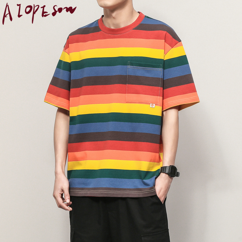 AIOPESON Summer Tshirt Men Clothing Loose Stripes Contrast Color O Collar T Shirts Mens Casual Cotton Short Sleeve Mens T Shirts
