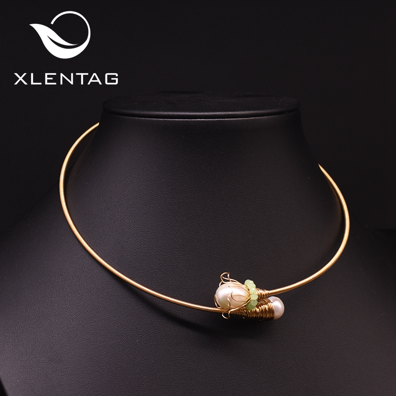 Xlentag Nautral Fresh Water Pearl Flower Choker Necklace For Women Engagement Lovely Necklace Party Luxury Fine Jewellery GN0177