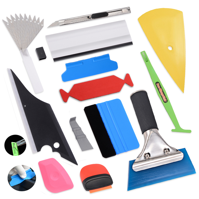 EHDIS Wrap Film Plastic Scraper Tool Set Carbon Fiber Vinyl Tinting Squeegee Magnet Razor Blade Window Water Wiper Cleaning Tool
