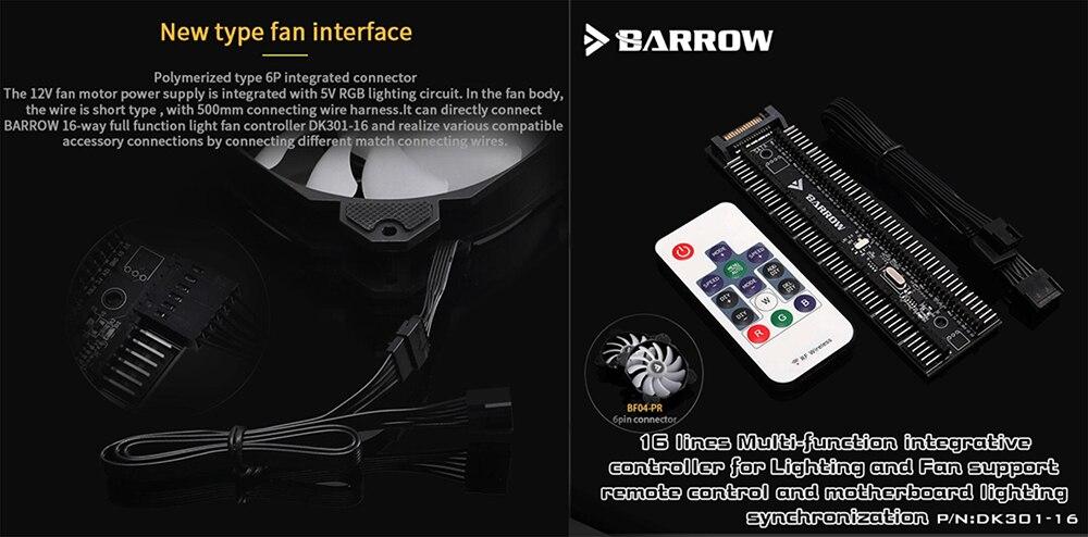 Barrow Pump Radiator Fan Combination AIO, For Water Cooling System Liquid Cooler, 240 360 Radiator, DARIDP-30