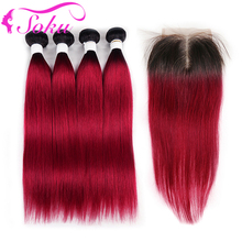 Human-Hair-Bundles Closure Straight Brazilian Ombre SOKU with 4x4 4PCS Red T1B/BURG Non-Remy