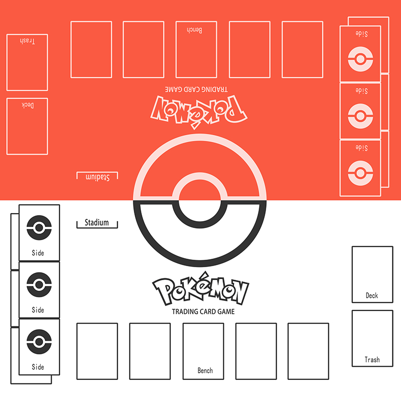 Takara Tomy PTCG Accessories Pokemon Playmat Card Table Game Duet Double Player Battle Pad Red VS White Toys For Children