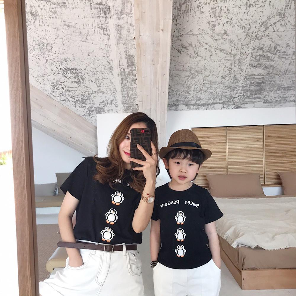 Mother kids t-shirts penguin pattern cotton kids tees boys girls tee