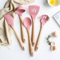 5Pcs/Set Pink Cooking Tools Set Premium Silicone+Wood Handle Kitchen Cooking Utensils Set Turner Soup Spoon Scraper Pasta Server