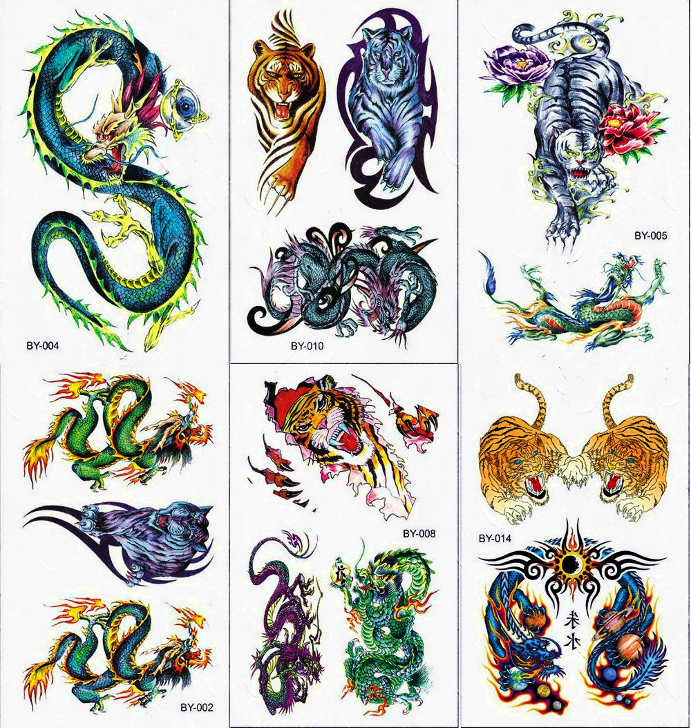 Balck And Yellow Tiger Waterproof Temporary Tattoo Sticker Dragon Snake Animals Tattoos Body Art Arm Shoulder Men Boy Fake Tatoo