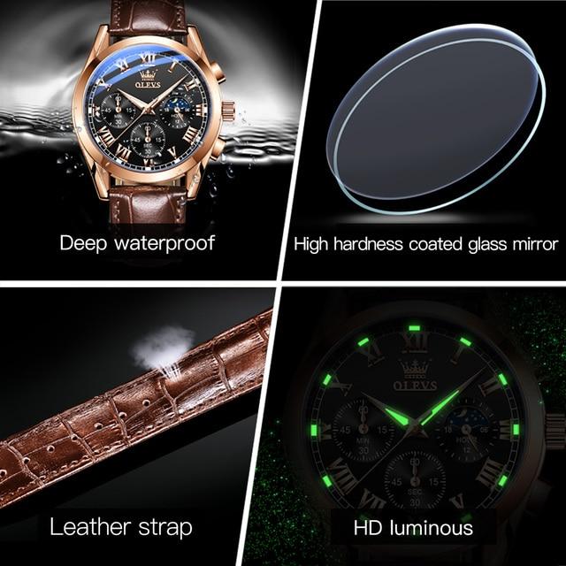 OLEVS Elite Mens Quartz Watches Business Dress Waterproof Wristwatch Men Luxury Breathable Leather Sports watch men Gifts 6