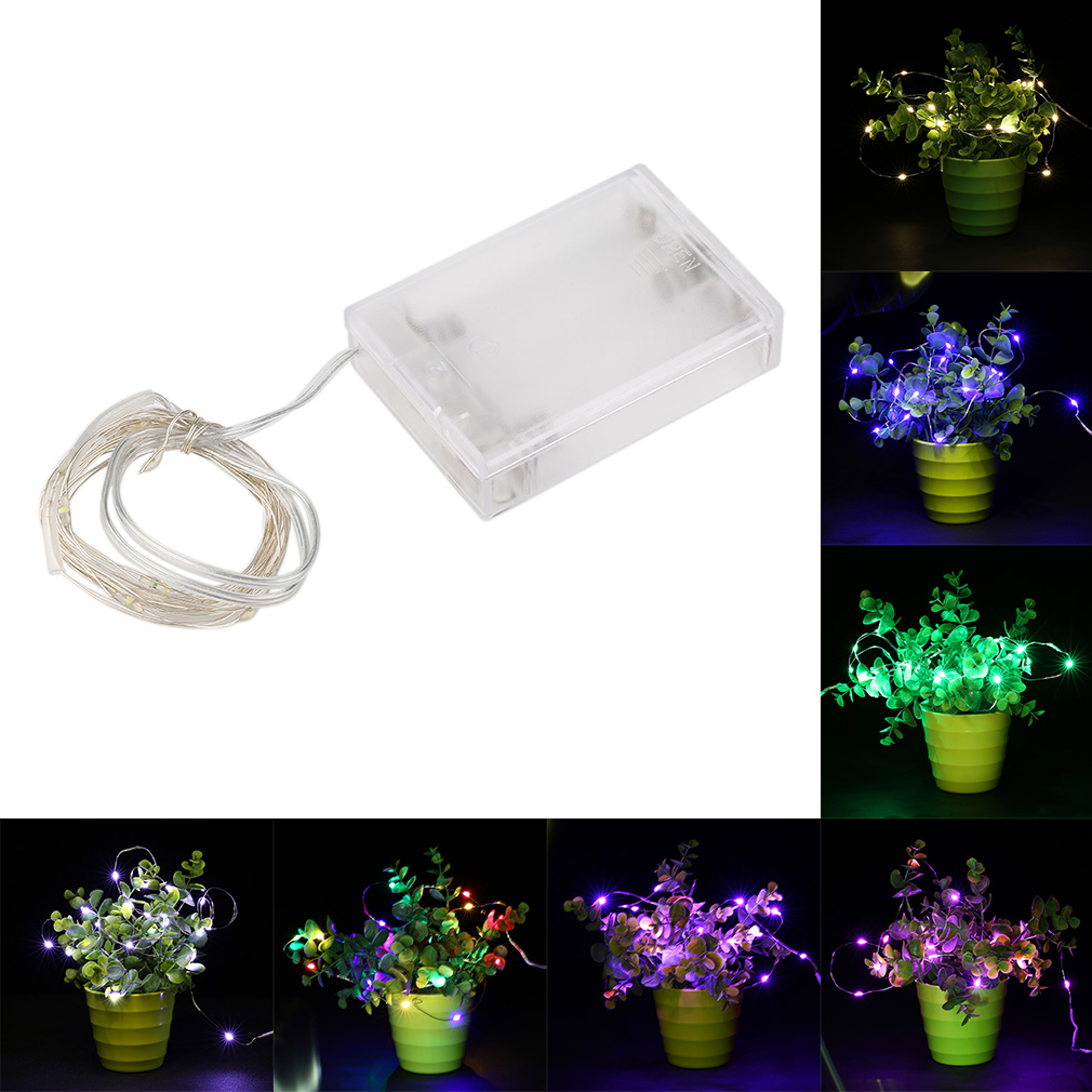 5M 50 LED 3AA  Battery Silver Wire String Light Fairy Lamp Battery Operated Christmas Holiday Wedding Party Decorative Light