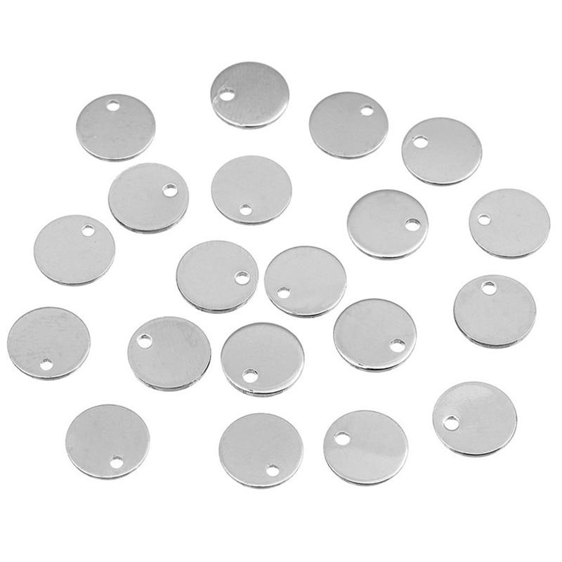 150 шт. сделай сам, ювелирное изделие из алюминиевого сплава аксессуары кулон 10 мм круглый маленький кулон используется в качестве теги для д...