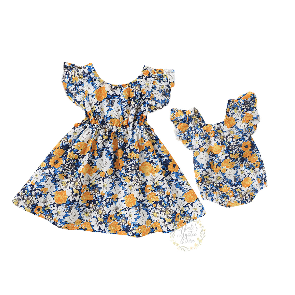 0-6Y Flower Baby Kid Girl Family Matching Outfits Little Sister Ruffles Romper Big Sister Bow Dress Summer Girl Costumes