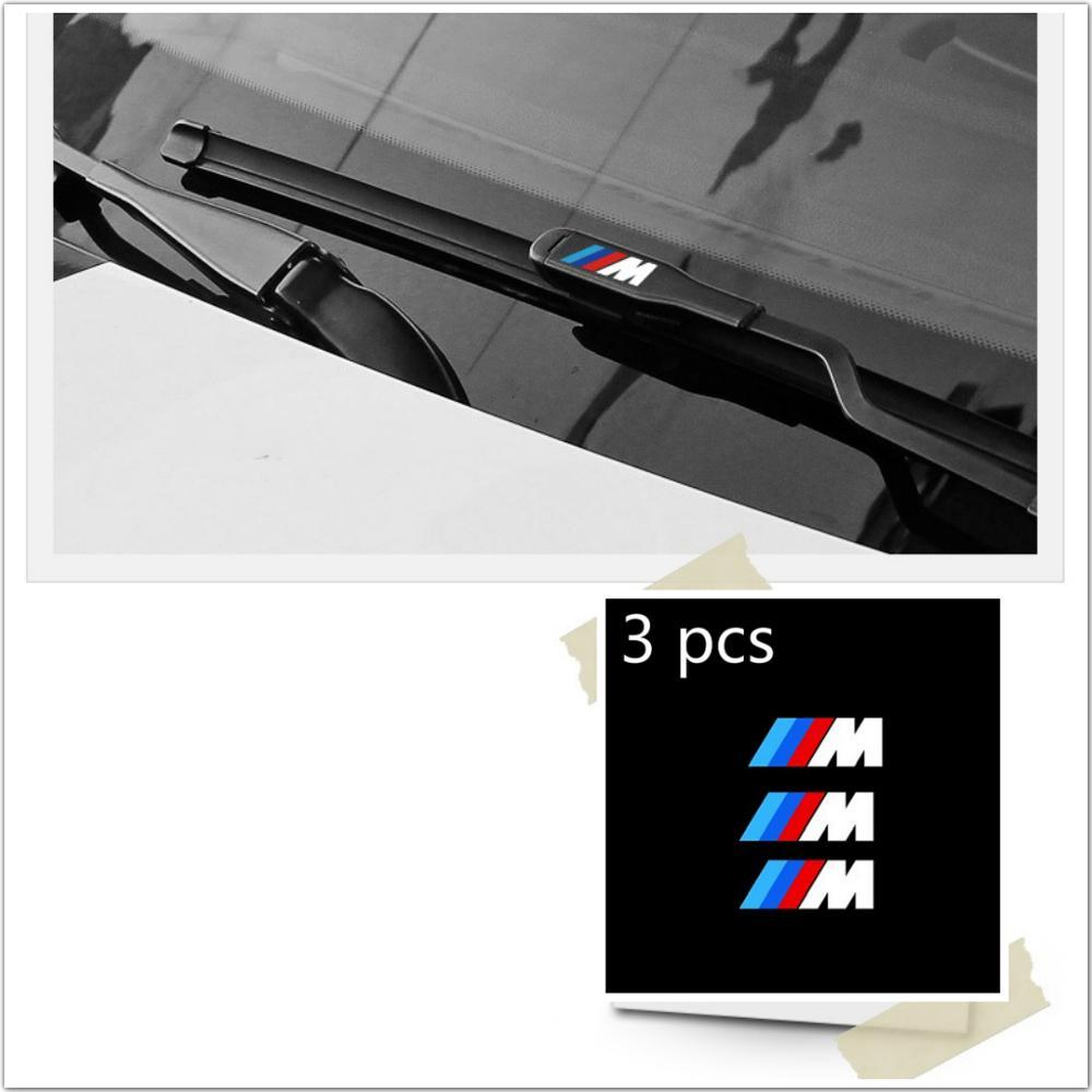 3 pcs 자동차 창 와이퍼 m 스타일링 스티커 BMW M2 M3 M5 M6 E46 E90 E60 E39 E36 E87 E92 E91 E34 F30 E10 F20 F30 자동차 액세서리