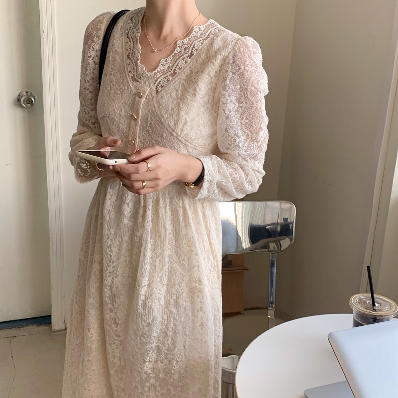 Hf56b16f4e04241268320d5580084aee7U - Spring / Autumn V-Neck Long Sleeves Lace Midi Dress