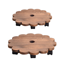 Flower-Pot Tray Planter-Stand-Holder Wheels Garden-Tools Wooden Heavy-Planter Round