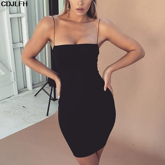 Robe Sexy Club Dresses Summer Solid Color Backless Spaghetti Straps Nightclub Dress Bodycon Mini Sundress Elegant Party Vestidos