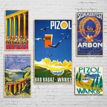 Carteles de Turismo de suiza St.Gallen pizol-bad ragaz-wangs, pegatinas clásicas para pared, cartel de papel Kraft Vintage, decoración de Bar para el hogar, regalo