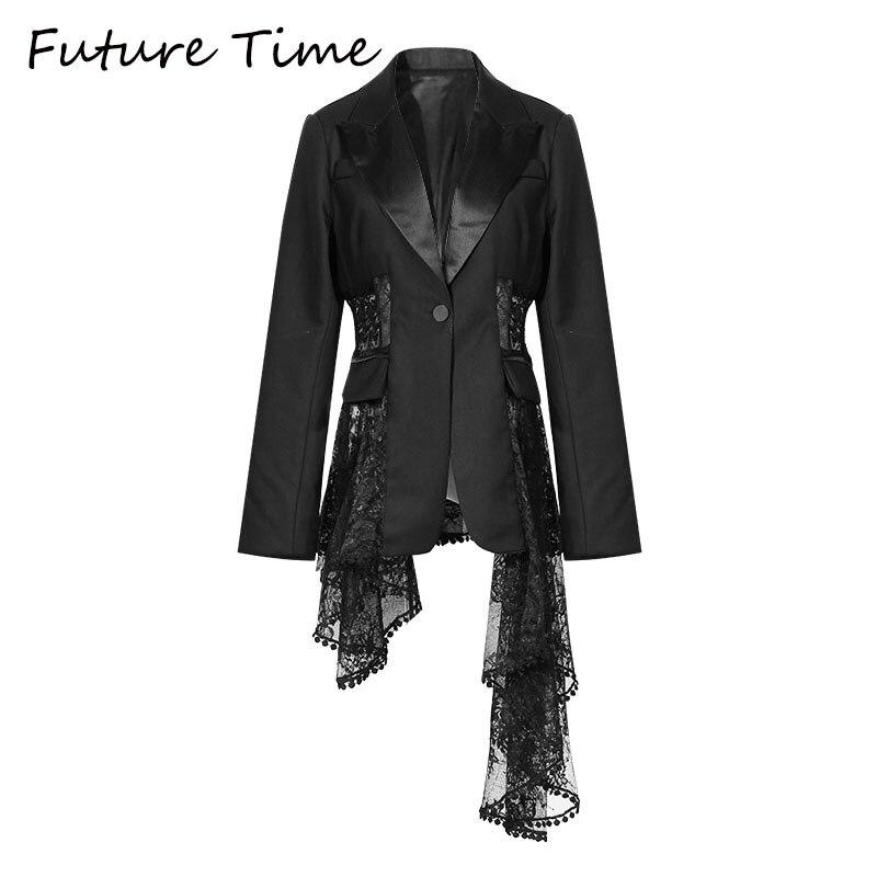 Future Time décontracté à manches longues couleur unie col rabattu manteau Sexy dentelle Blazer manteau dame d'affaires veste costume haut de taille slim femmes