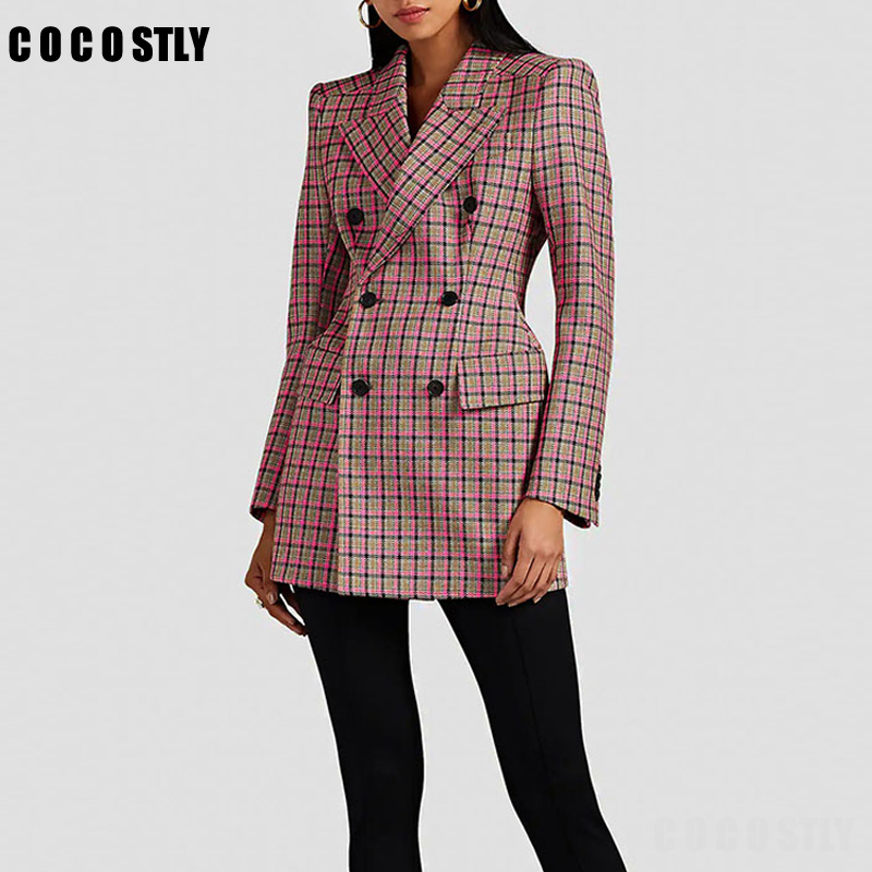 2020 Autumn Winter Suit For Women Plaid Blazer Long Sleeve Double Breasted Vintage Female Lattice Shoulder Retro Suit Jackets