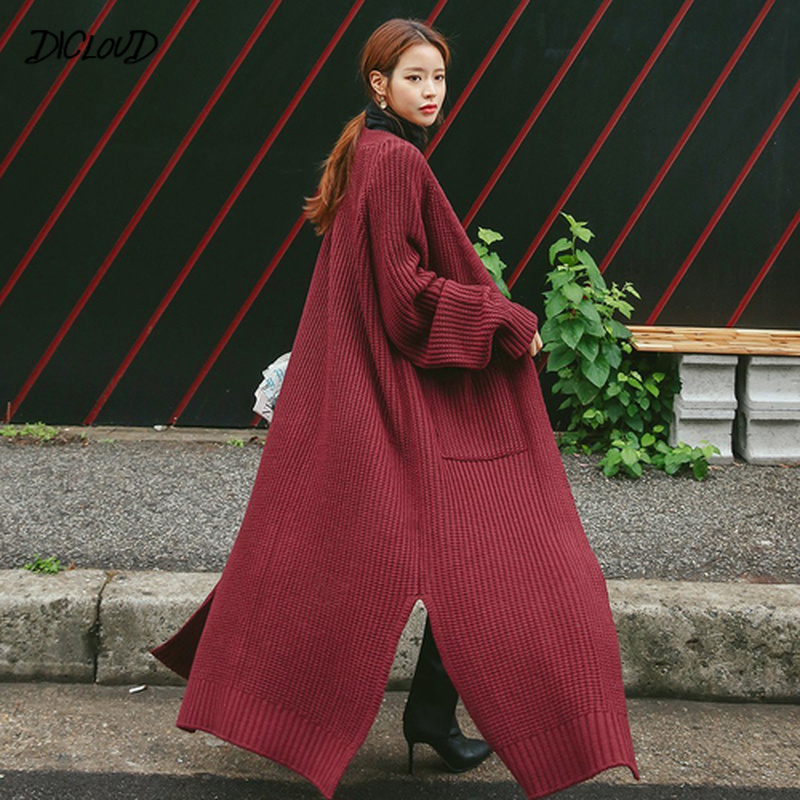 Vintage Korean Long Cardigan Women 2019 Autumn Winter Coat  Long Sleeve Plus Size Thick Knitted Sweater Pull Femme Tops