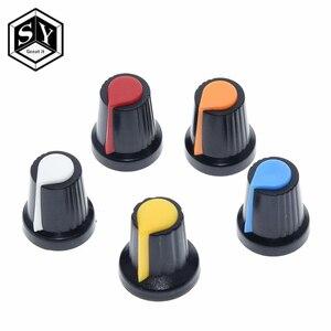 5PCS/lot WH148 potentiometer knob cap(copper core) 15X17mm 6mm Shaft Hole AG2 Yellow Orange Blue White Red 5value*1PCS=5PCS