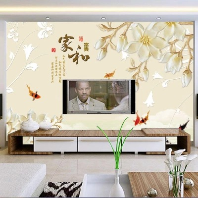 Elegant Room Orchid Modern Minimalist Soft Bag 3D TV Backdrop Cloth Sofa Bedroom Film And Television Wallpaper