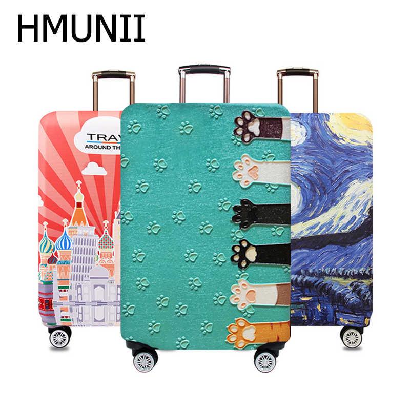 Чехол для чемодана HMUNII, эластичный, с изображением карты мира, для чемоданов размером 18''-32''